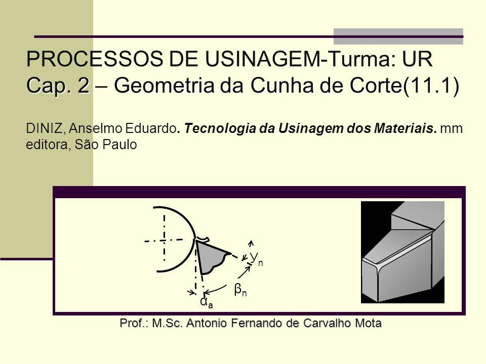 Cap. 2 – Geometria da Cunha de Corte(11.1) PROCESSOS DE USINAGEM-Turma: UR Cap. 2 – Geometria da Cunha de Corte(11.1) DINIZ, Anselmo Eduardo. Tecnolog