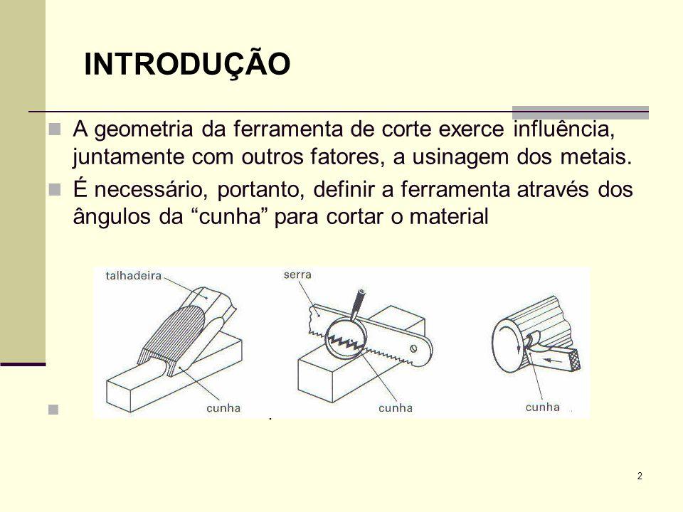 INTRODUÇÃO A geometria da ferramenta de corte exerce influência, juntamente com outros fatores, a usinagem dos metais. É necessário, portanto, definir