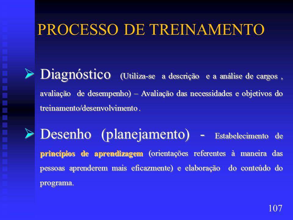 PROCESSO DE TREINAMENTO Diagnóstico (Utiliza-se a descrição e a análise de cargos, avaliação de desempenho) – Avaliação das necessidades e objetivos d