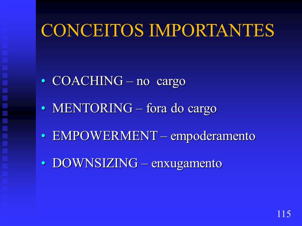 CONCEITOS IMPORTANTES COACHING – no cargoCOACHING – no cargo MENTORING – fora do cargoMENTORING – fora do cargo EMPOWERMENT – empoderamentoEMPOWERMENT