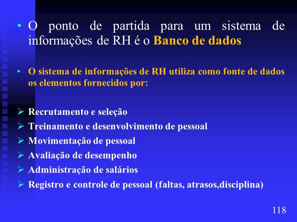 O ponto de partida para um sistema de informações de RH é o Banco de dados O sistema de informações de RH utiliza como fonte de dados os elementos for