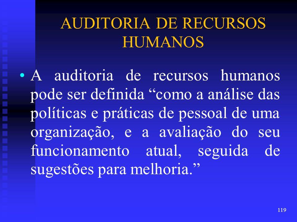 AUDITORIA DE RECURSOS HUMANOS A auditoria de recursos humanos pode ser definida como a análise das políticas e práticas de pessoal de uma organização,