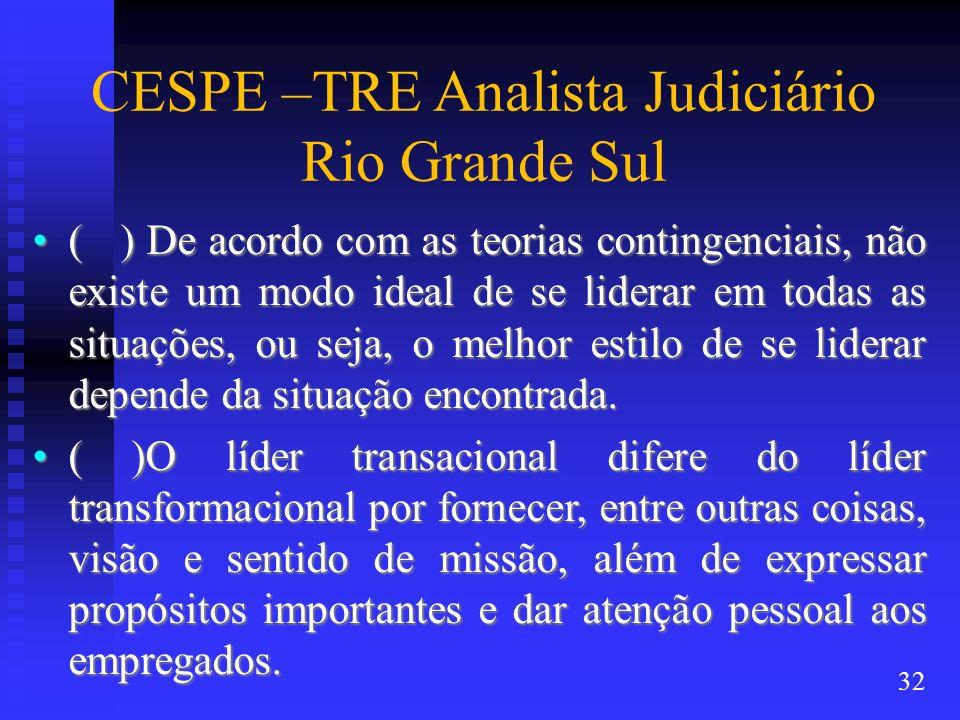 CESPE –TRE Analista Judiciário Rio Grande Sul ( ) De acordo com as teorias contingenciais, não existe um modo ideal de se liderar em todas as situaçõe