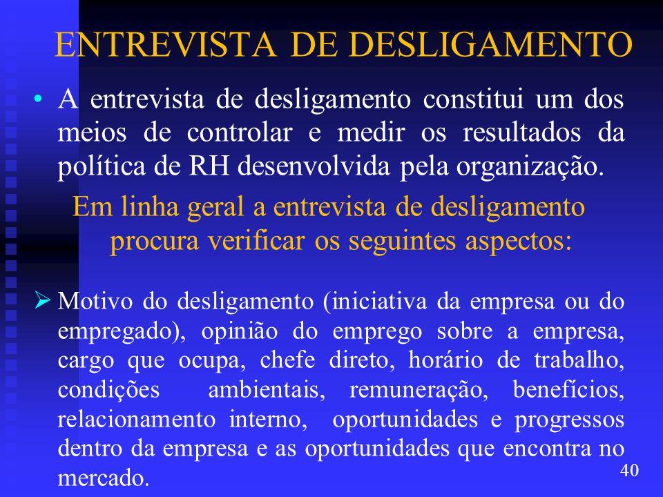 ENTREVISTA DE DESLIGAMENTO A entrevista de desligamento constitui um dos meios de controlar e medir os resultados da política de RH desenvolvida pela