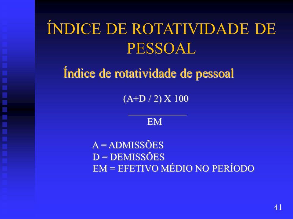ÍNDICE DE ROTATIVIDADE DE PESSOAL Índice de rotatividade de pessoal (A+D / 2) X 100 (A+D / 2) X 100 ____________ ____________ EM EM A = ADMISSÕES A =