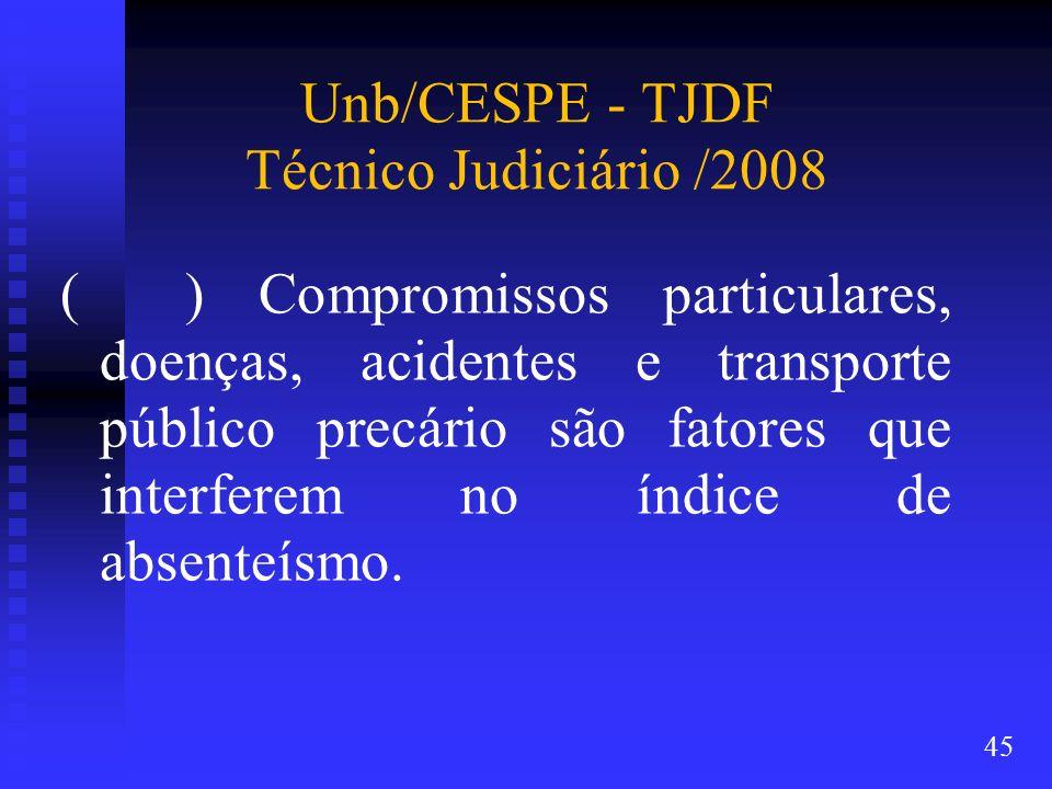 Unb/CESPE - TJDF Técnico Judiciário /2008 ( ) Compromissos particulares, doenças, acidentes e transporte público precário são fatores que interferem n