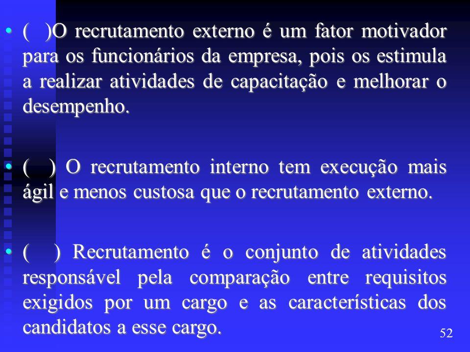 ( )O recrutamento externo é um fator motivador para os funcionários da empresa, pois os estimula a realizar atividades de capacitação e melhorar o des