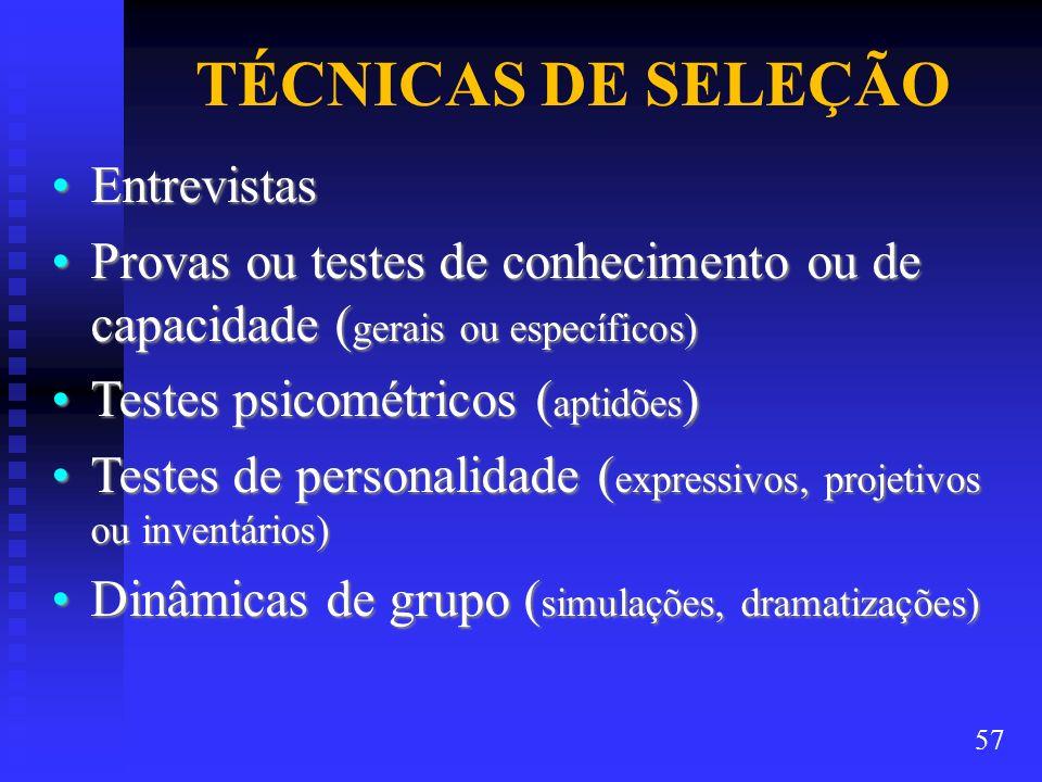 TÉCNICAS DE SELEÇÃO EntrevistasEntrevistas Provas ou testes de conhecimento ou de capacidade ( gerais ou específicos)Provas ou testes de conhecimento