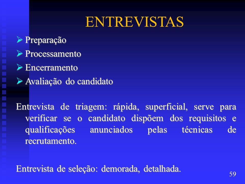 ENTREVISTAS Preparação Preparação Processamento Processamento Encerramento Encerramento Avaliação do candidato Avaliação do candidato Entrevista de tr