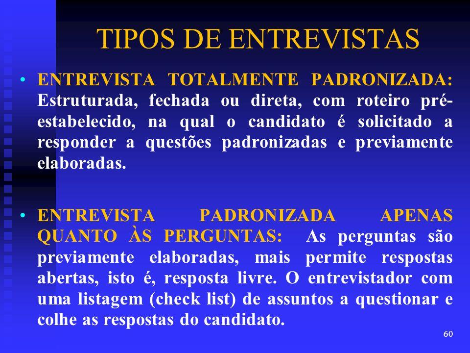 TIPOS DE ENTREVISTAS ENTREVISTA TOTALMENTE PADRONIZADA: Estruturada, fechada ou direta, com roteiro pré- estabelecido, na qual o candidato é solicitad