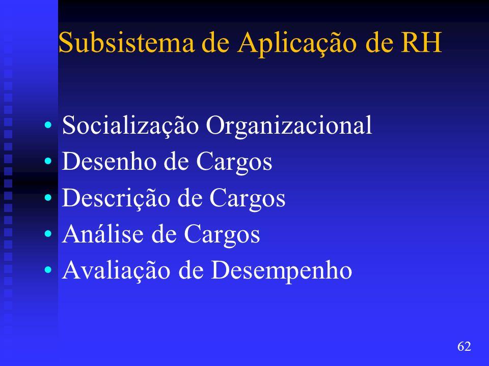 Subsistema de Aplicação de RH Socialização Organizacional Desenho de Cargos Descrição de Cargos Análise de Cargos Avaliação de Desempenho 62