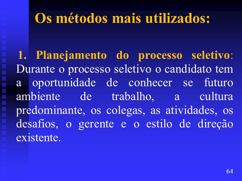 Os métodos mais utilizados: 1. Planejamento do processo seletivo: Durante o processo seletivo o candidato tem a oportunidade de conhecer se futuro amb