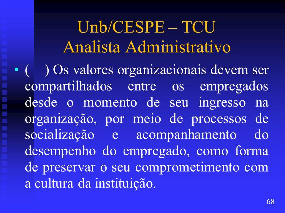 Unb/CESPE – TCU Analista Administrativo ( ) Os valores organizacionais devem ser compartilhados entre os empregados desde o momento de seu ingresso na