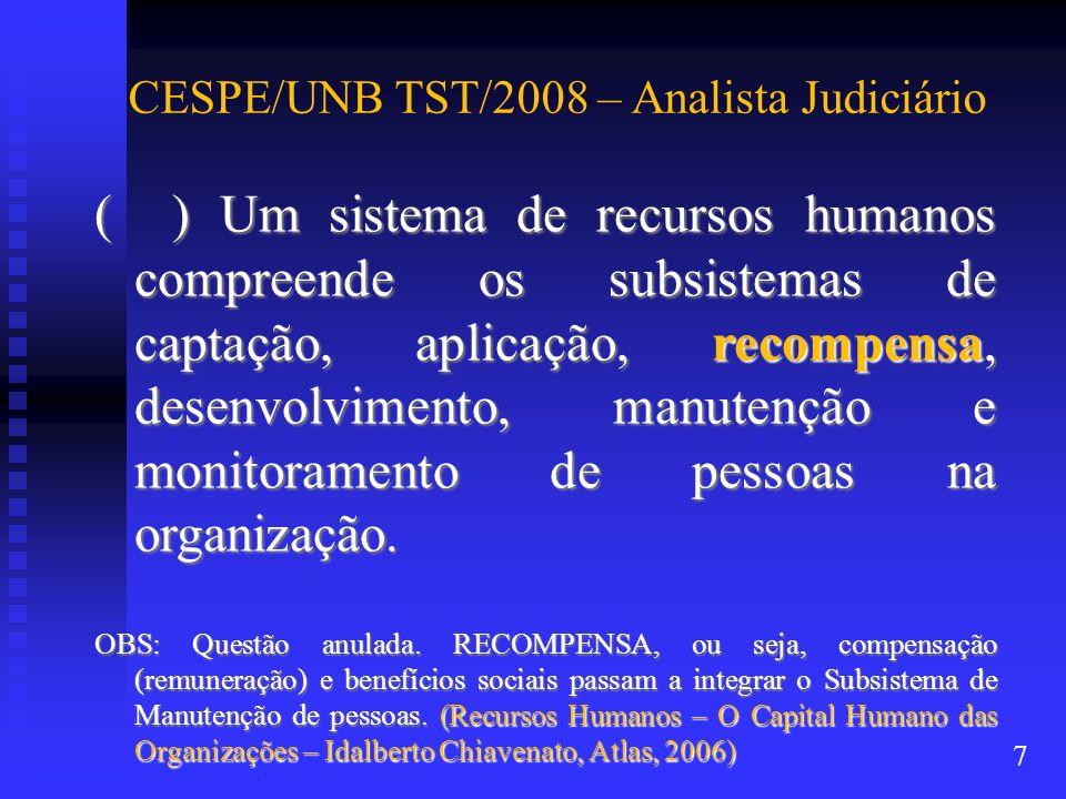 CESPE/UNB TST/2008 – Analista Judiciário ( ) Um sistema de recursos humanos compreende os subsistemas de captação, aplicação, recompensa, desenvolvime