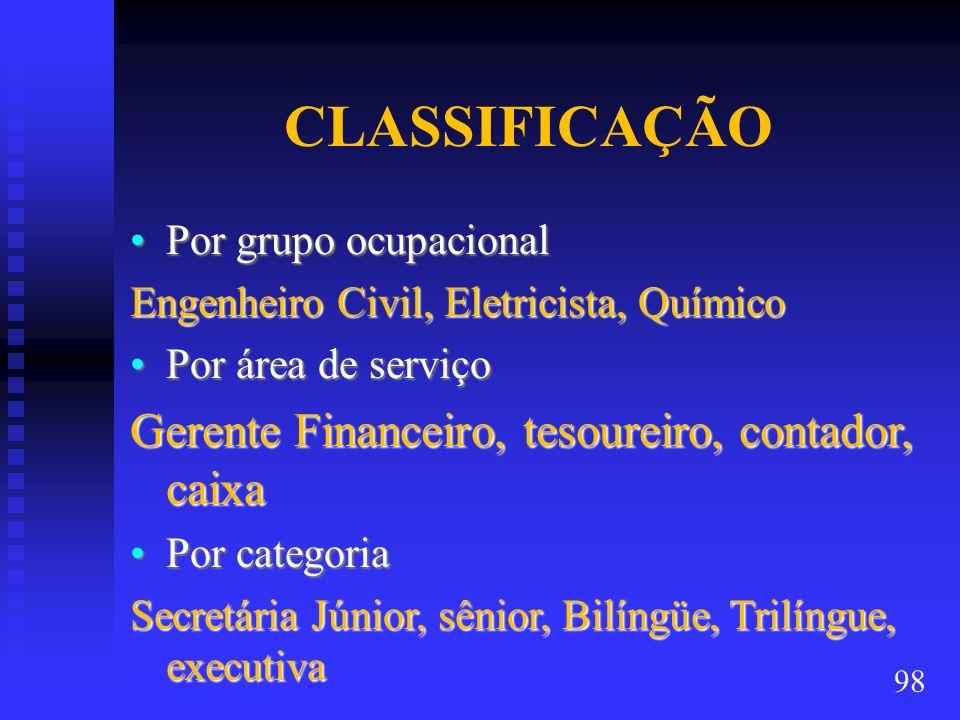 CLASSIFICAÇÃO Por grupo ocupacionalPor grupo ocupacional Engenheiro Civil, Eletricista, Químico Por área de serviçoPor área de serviço Gerente Finance
