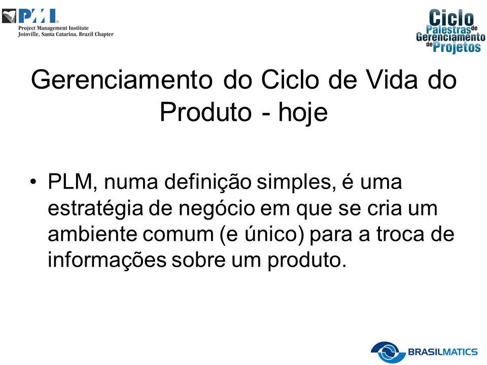 Gerenciamento do Ciclo de Vida do Produto - hoje PLM, numa definição simples, é uma estratégia de negócio em que se cria um ambiente comum (e único) para a troca de informações sobre um produto.