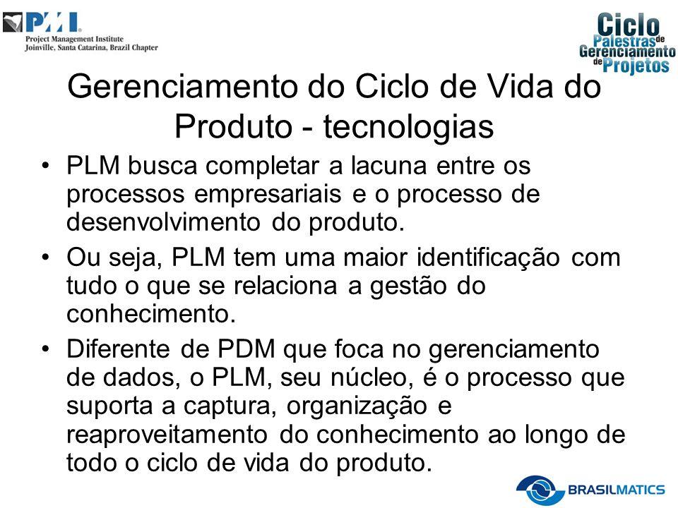 Gerenciamento do Ciclo de Vida do Produto - tecnologias PLM busca completar a lacuna entre os processos empresariais e o processo de desenvolvimento do produto.