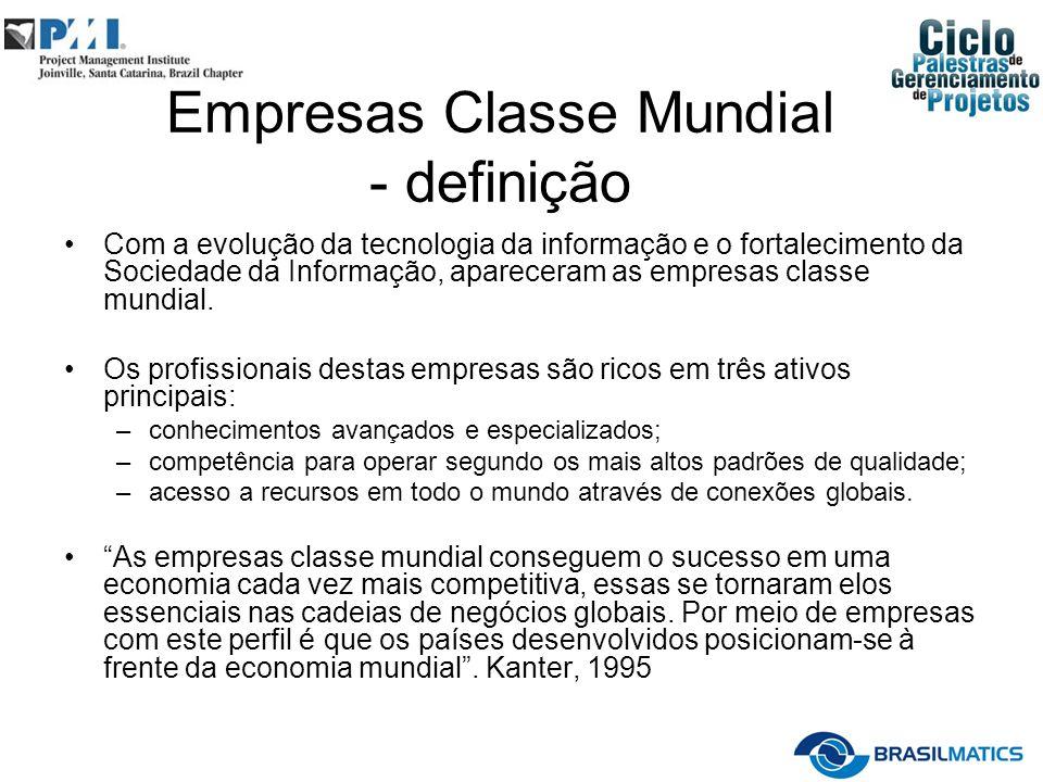 Empresas Classe Mundial - definição Com a evolução da tecnologia da informação e o fortalecimento da Sociedade da Informação, apareceram as empresas classe mundial.