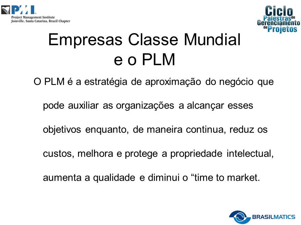 Empresas Classe Mundial e o PLM O PLM é a estratégia de aproximação do negócio que pode auxiliar as organizações a alcançar esses objetivos enquanto,