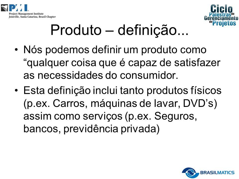 Produto – definição... Nós podemos definir um produto como qualquer coisa que é capaz de satisfazer as necessidades do consumidor. Esta definição incl