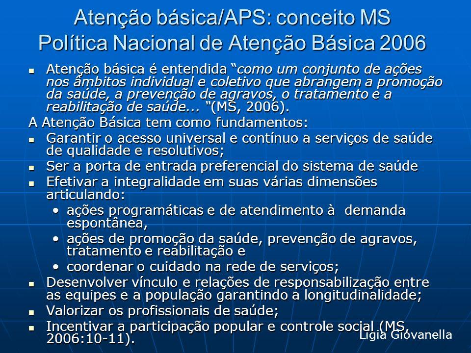 Atenção básica/APS: conceito MS Política Nacional de Atenção Básica 2006 Atenção básica é entendida como um conjunto de ações nos âmbitos individual e
