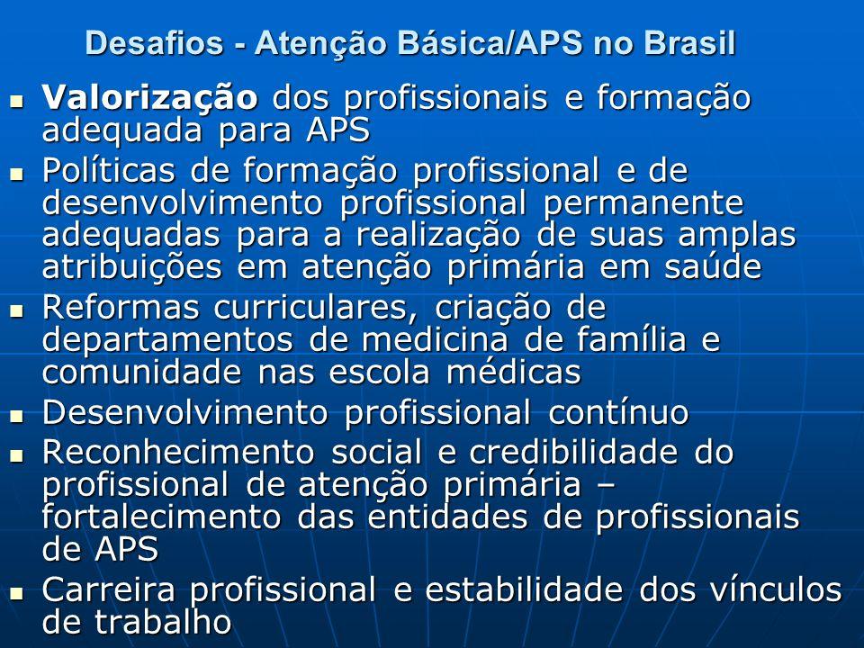 Desafios - Atenção Básica/APS no Brasil Valorização dos profissionais e formação adequada para APS Valorização dos profissionais e formação adequada p