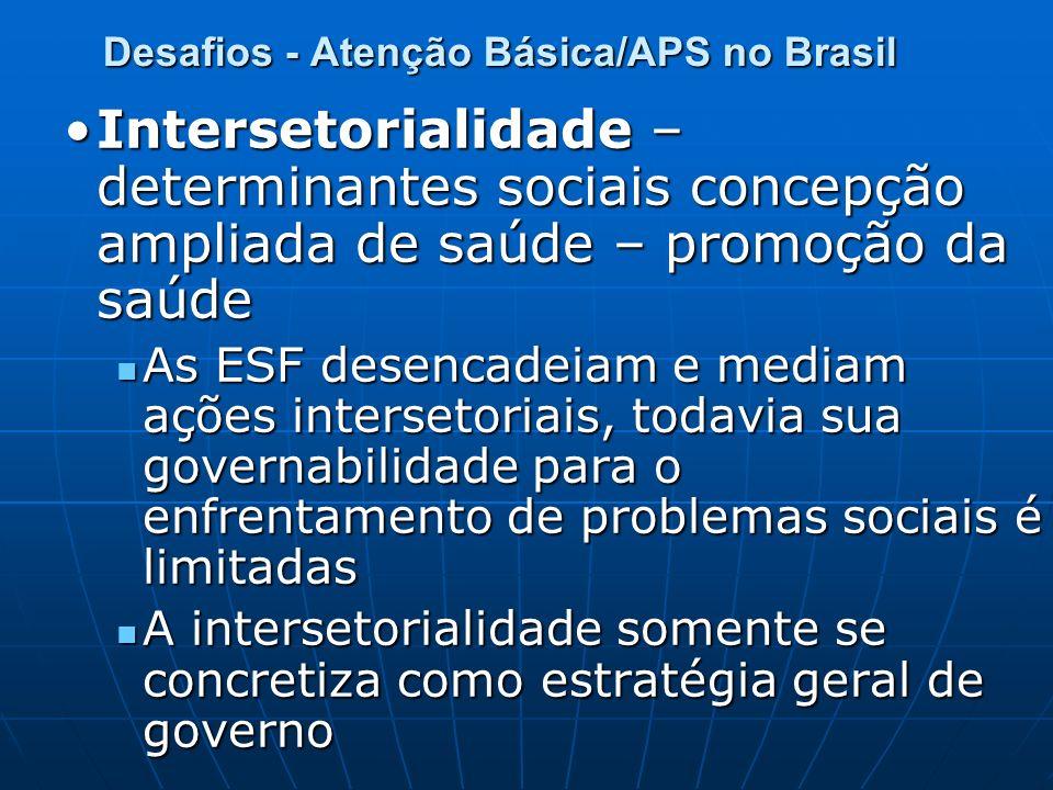 Desafios - Atenção Básica/APS no Brasil Intersetorialidade – determinantes sociais concepção ampliada de saúde – promoção da saúdeIntersetorialidade –
