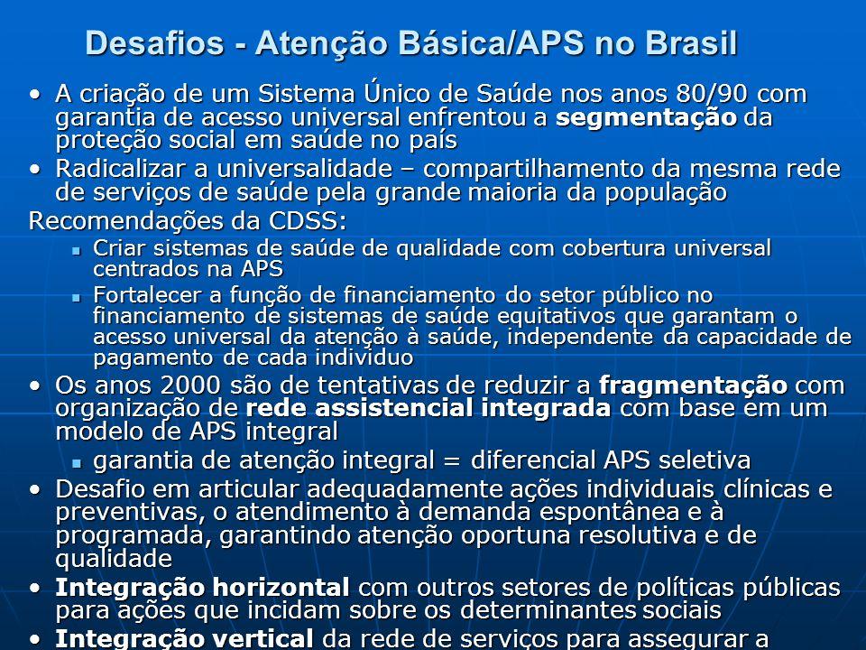 Desafios - Atenção Básica/APS no Brasil A criação de um Sistema Único de Saúde nos anos 80/90 com garantia de acesso universal enfrentou a segmentação