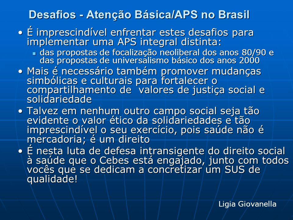 Desafios - Atenção Básica/APS no Brasil É imprescindível enfrentar estes desafios para implementar uma APS integral distinta:É imprescindível enfrenta