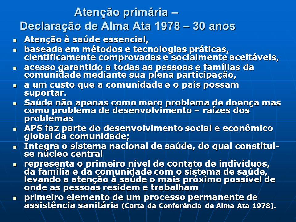 Atenção primária – Declaração de Alma Ata 1978 – 30 anos Atenção à saúde essencial, Atenção à saúde essencial, baseada em métodos e tecnologias prátic