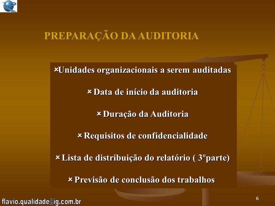 5 PREPARAÇÃO DA AUDITORIA ANÁLISE DA DOCUMENTAÇÃO INTINERÁRIO DA AUDITORIA INTINERÁRIO DA AUDITORIA DEFINIÇÃO DE DATA E LOCAL DEFINIÇÃO DE DATA E LOCA
