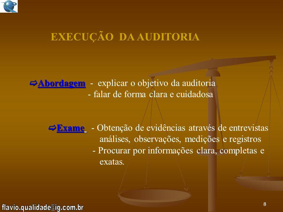 7 EXECUÇÃO DA AUDITORIA Reunião de Abertura: - Objetivo: P reparar caminhos para uma boa comunicação, cooperação e receptividade - Pauta L ista de Pre