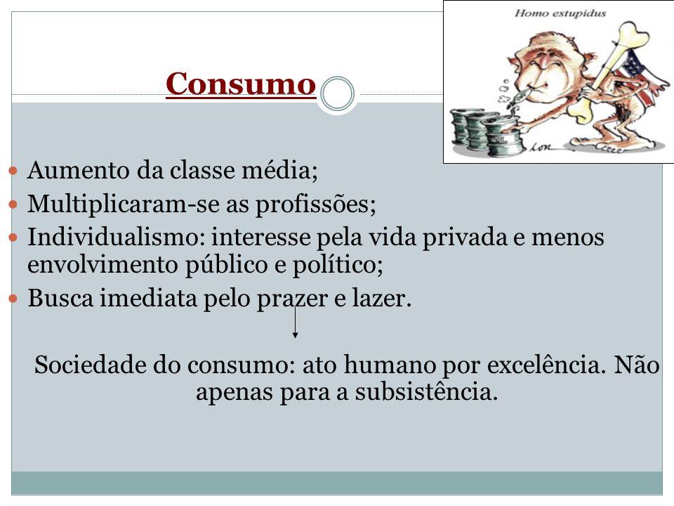 Consumo Aumento da classe média; Multiplicaram-se as profissões; Individualismo: interesse pela vida privada e menos envolvimento público e político;