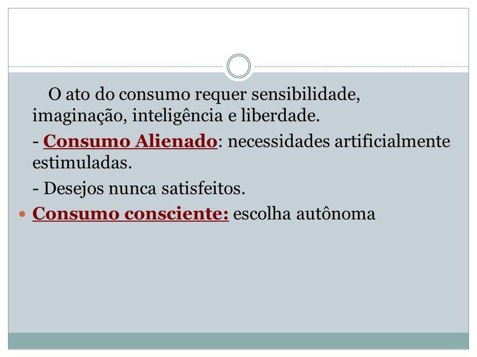 O ato do consumo requer sensibilidade, imaginação, inteligência e liberdade. - Consumo Alienado: necessidades artificialmente estimuladas. - Desejos n