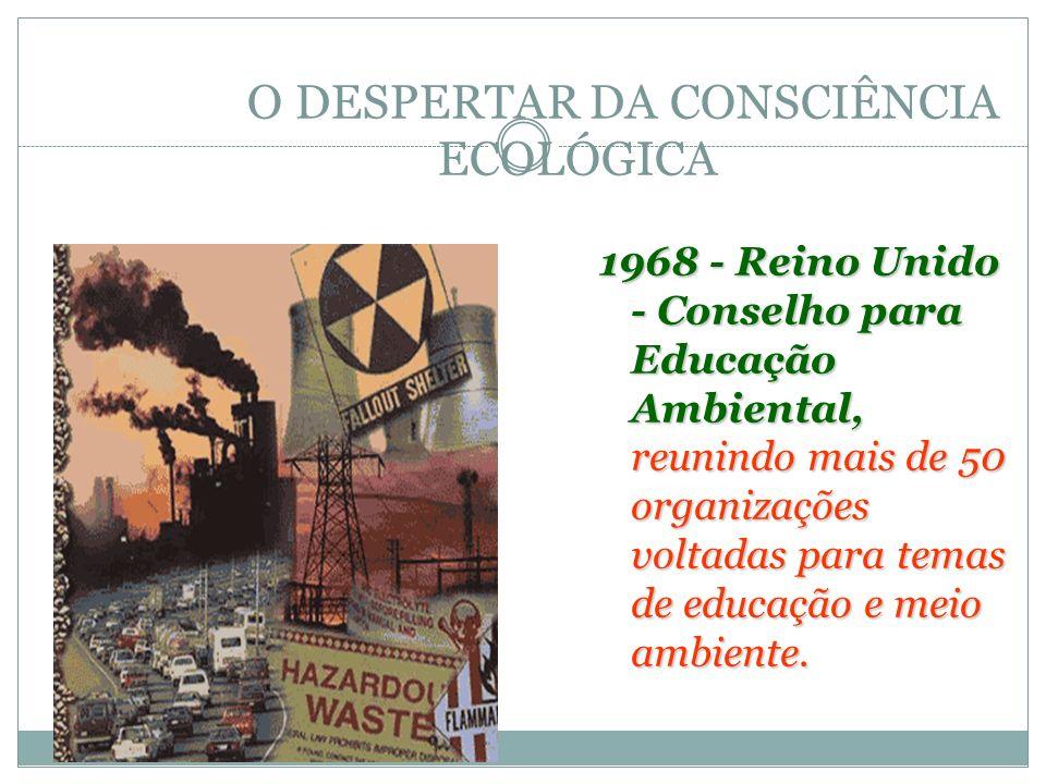 O DESPERTAR DA CONSCIÊNCIA ECOLÓGICA 1968 - Reino Unido - Conselho para Educação Ambiental, reunindo mais de 50 organizações voltadas para temas de ed