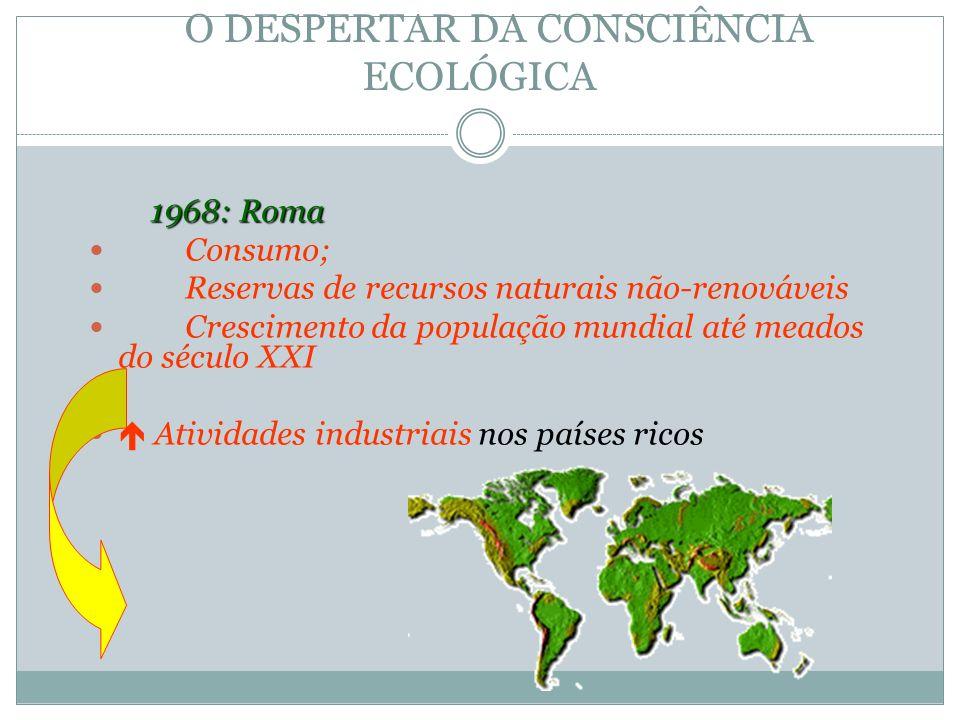 O DESPERTAR DA CONSCIÊNCIA ECOLÓGICA 1968: Roma 1968: Roma Consumo; Reservas de recursos naturais não-renováveis Crescimento da população mundial até
