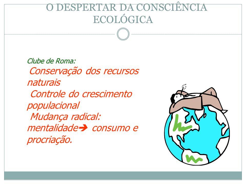 Clube de Roma: Conservação dos recursos naturais Controle do crescimento populacional Mudança radical: mentalidade consumo e procriação. O DESPERTAR D