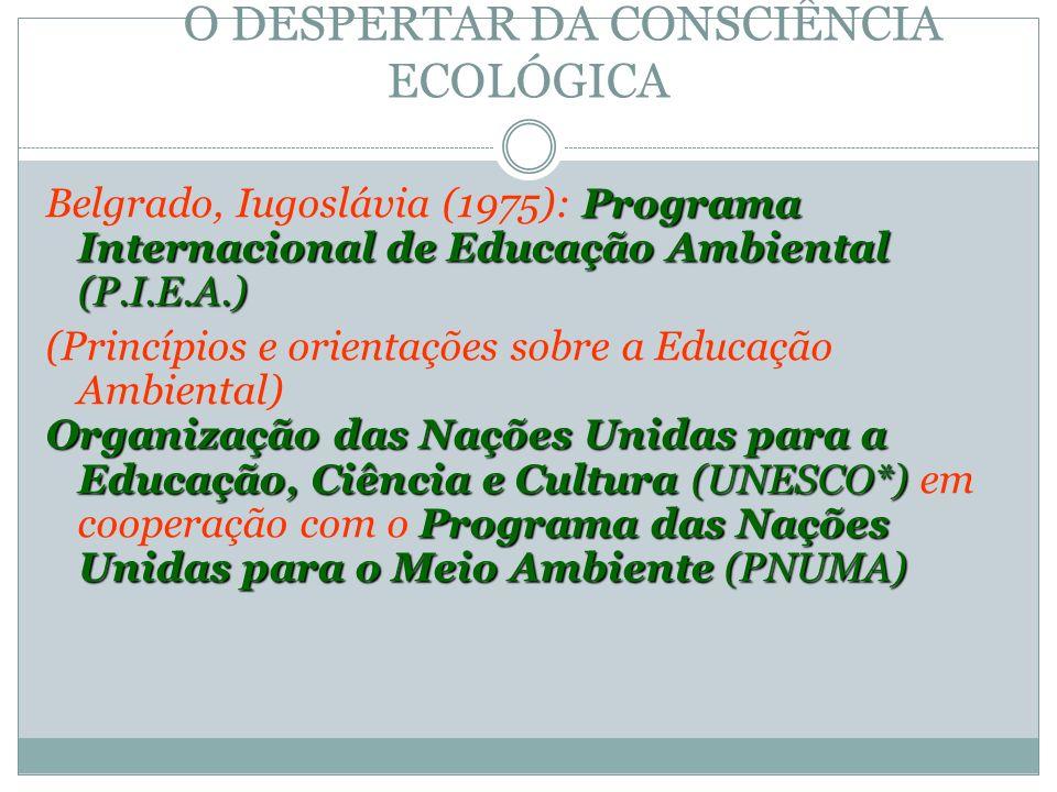 O DESPERTAR DA CONSCIÊNCIA ECOLÓGICA Programa Internacional de Educação Ambiental (P.I.E.A.) Belgrado, Iugoslávia (1975): Programa Internacional de Ed