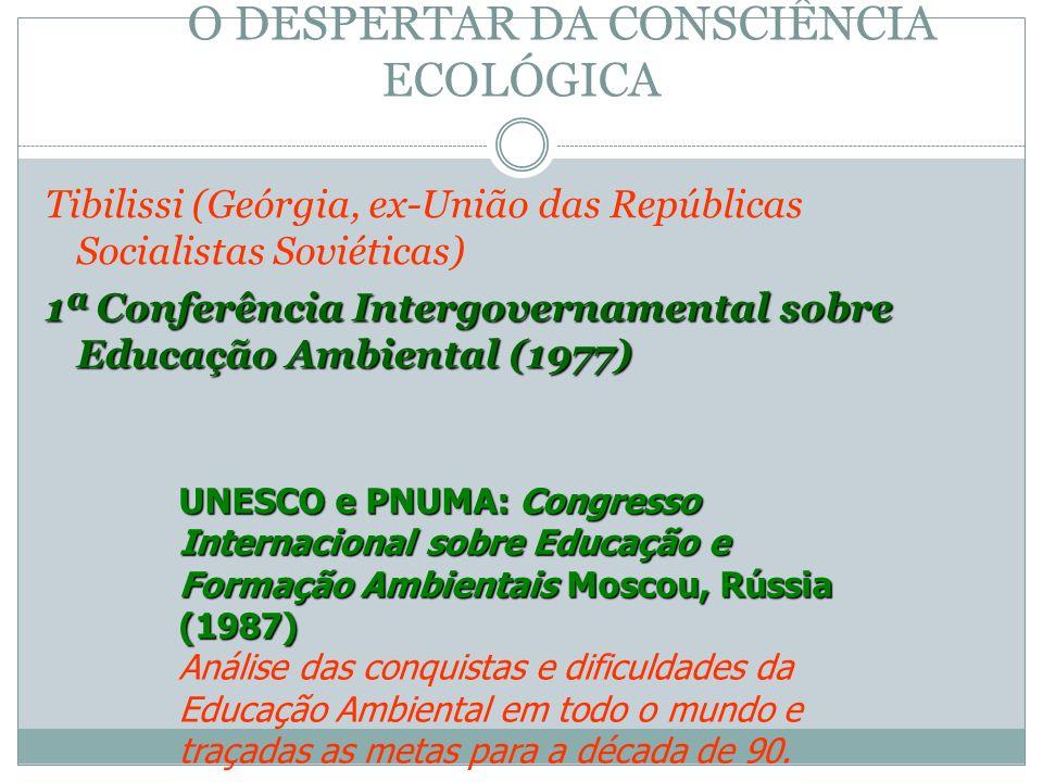 O DESPERTAR DA CONSCIÊNCIA ECOLÓGICA Tibilissi (Geórgia, ex-União das Repúblicas Socialistas Soviéticas) 1ª Conferência Intergovernamental sobre Educa