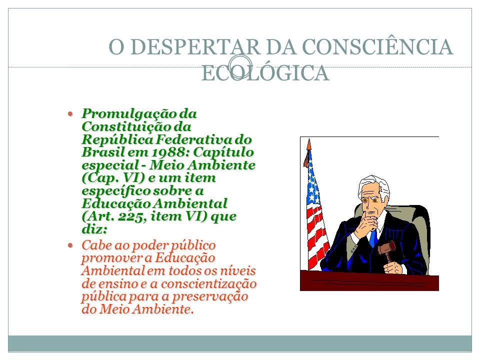O DESPERTAR DA CONSCIÊNCIA ECOLÓGICA Promulgação da Constituição da República Federativa do Brasil em 1988: Capítulo especial - Meio Ambiente (Cap. VI