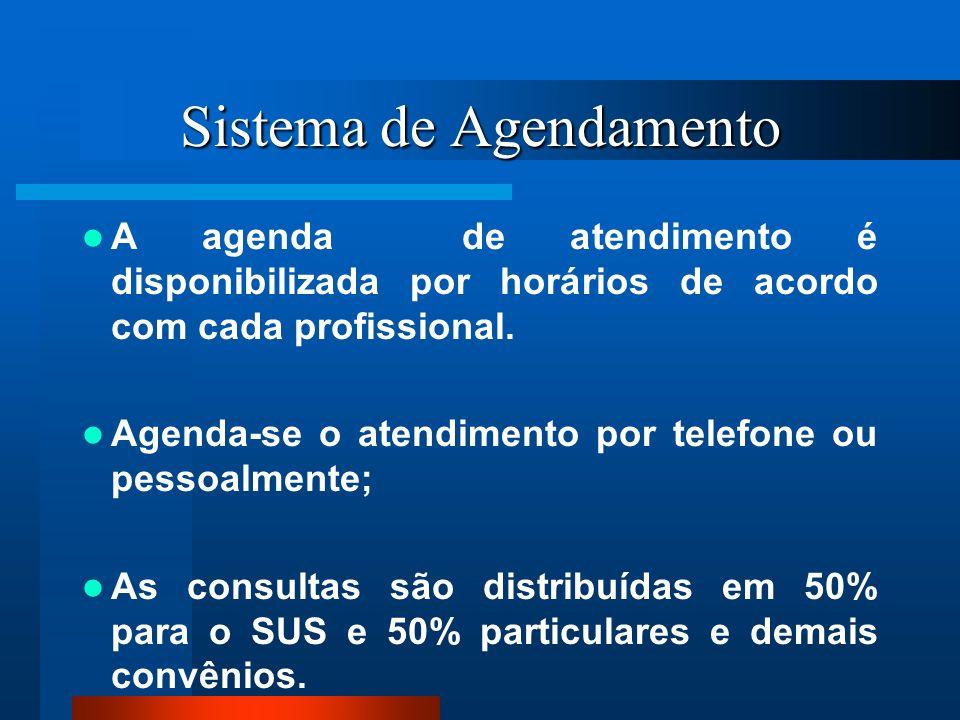 Sistema de Agendamento A agenda de atendimento é disponibilizada por horários de acordo com cada profissional. Agenda-se o atendimento por telefone ou