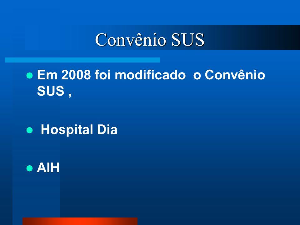 Convênio SUS Em 2008 foi modificado o Convênio SUS, Hospital Dia AIH