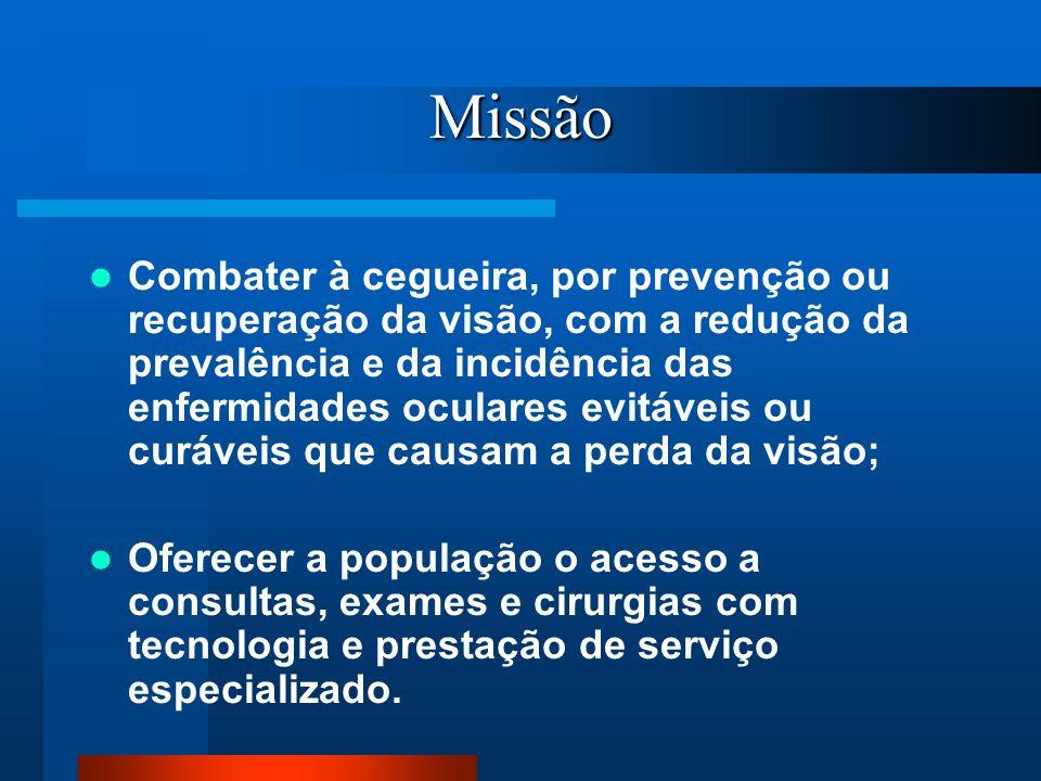 Missão Combater à cegueira, por prevenção ou recuperação da visão, com a redução da prevalência e da incidência das enfermidades oculares evitáveis ou