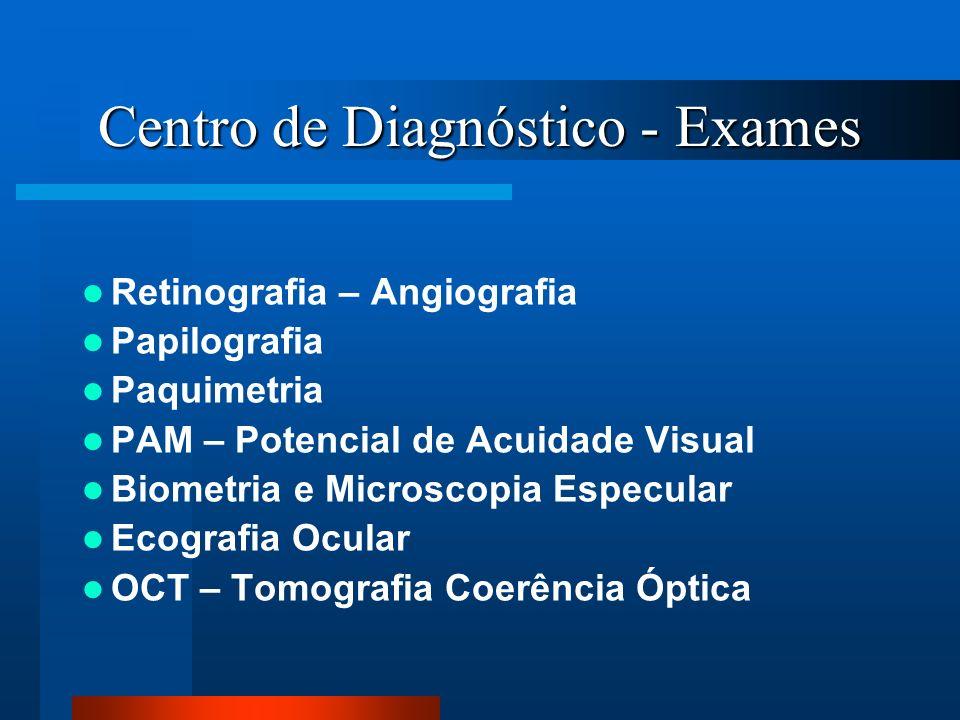 Centro de Diagnóstico - Exames Retinografia – Angiografia Papilografia Paquimetria PAM – Potencial de Acuidade Visual Biometria e Microscopia Especula