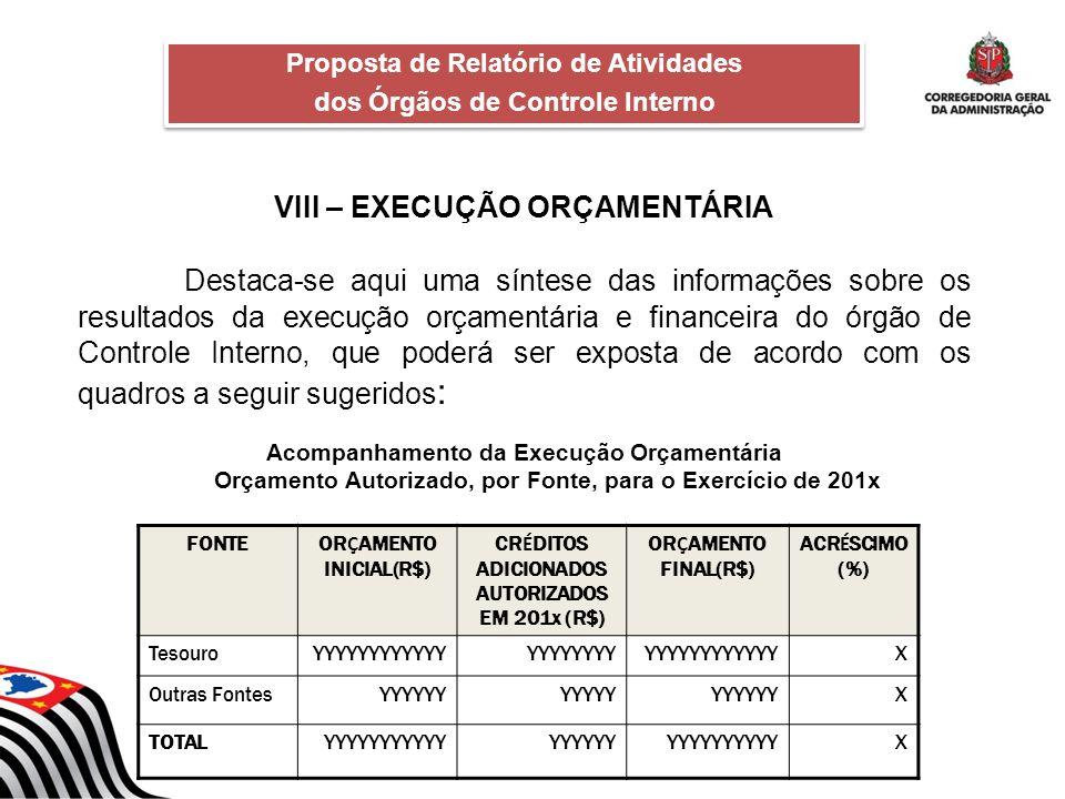 VIII – EXECUÇÃO ORÇAMENTÁRIA Destaca-se aqui uma síntese das informações sobre os resultados da execução orçamentária e financeira do órgão de Control