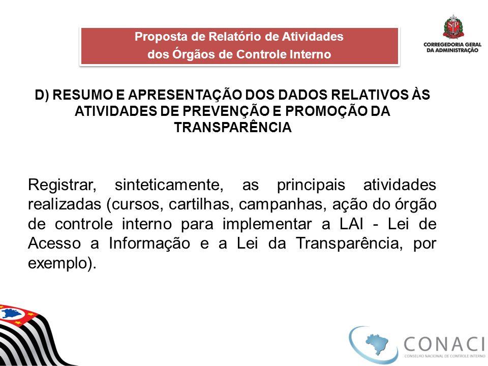 D) RESUMO E APRESENTAÇÃO DOS DADOS RELATIVOS ÀS ATIVIDADES DE PREVENÇÃO E PROMOÇÃO DA TRANSPARÊNCIA Registrar, sinteticamente, as principais atividade