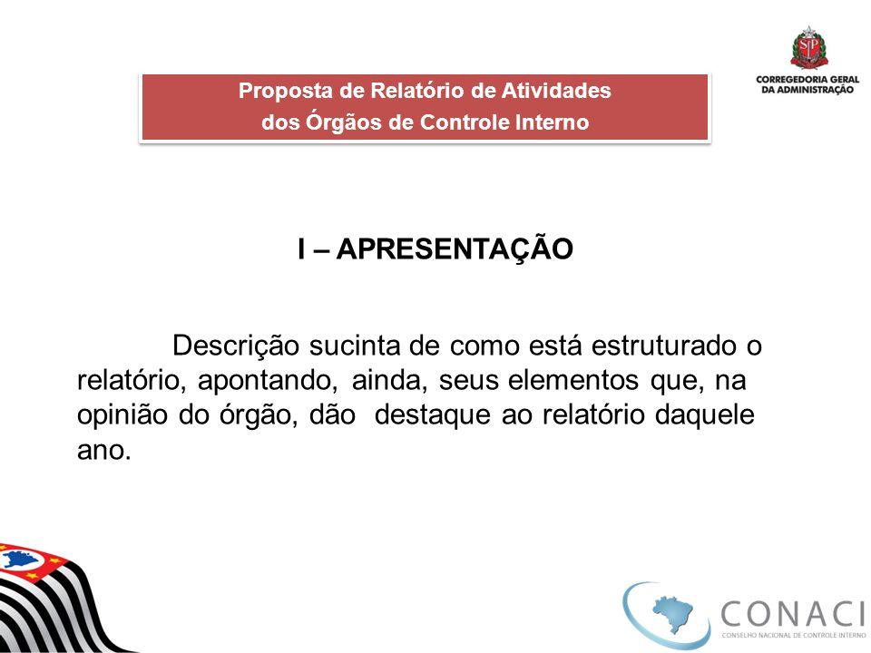 B) RESUMO E APRESENTAÇÃO DOS DADOS RELATIVOS ÀS ATIVIDADES DE AUDITORIA Proposta de Relatório de Atividades dos Órgãos de Controle Interno Proposta de Relatório de Atividades dos Órgãos de Controle Interno