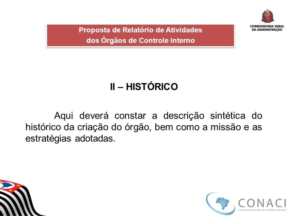 II – HISTÓRICO Aqui deverá constar a descrição sintética do histórico da criação do órgão, bem como a missão e as estratégias adotadas. Proposta de Re