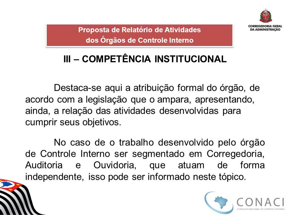 III – COMPETÊNCIA INSTITUCIONAL Destaca-se aqui a atribuição formal do órgão, de acordo com a legislação que o ampara, apresentando, ainda, a relação