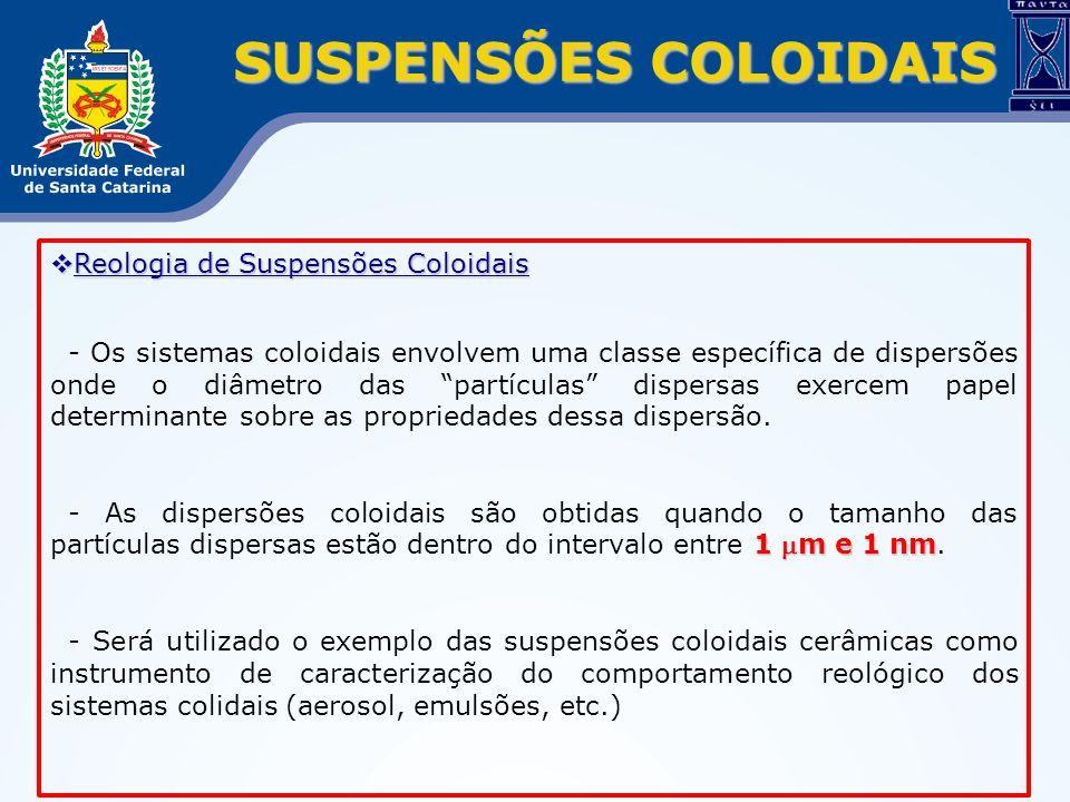 SUSPENSÕES COLOIDAIS Reologia de Suspensões Coloidais Reologia de Suspensões Coloidais - Os sistemas coloidais envolvem uma classe específica de dispe